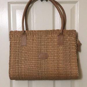 Handbags - Straw handbag with leather handles